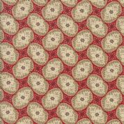 Moda Madam Rouge by French General - 5694 - Stylised Floral, Cream on Red - 13776 12 - Cotton Fabric